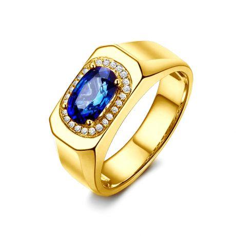 Chevalière Homme Or jaune. Saphirs, diamants 2.17ct