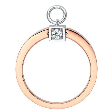 Solitaire pendentif - Bague de mariage en or blanc, rose et diamants   Gemperles