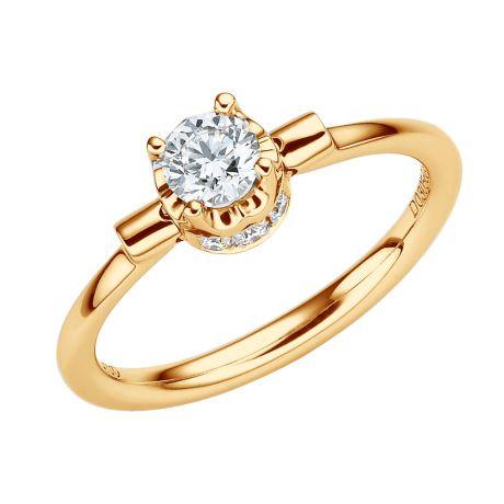 Anello Solitario Estasia - Oro Giallo 18kt e Diamanti - Trasformabile in ciondolo | Gemperles