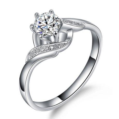 Anello Solitario di Fidanzamento Laccio - Oro Bianco & Diamanti | Gemperles