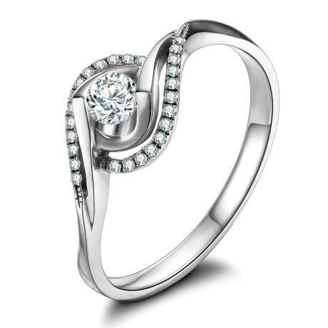 Anello Solitario Composto Clarisse - Oro Bianco & Diamanti | Gemperles