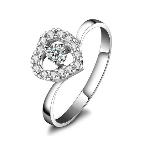 Anello di Fidanzamento Cuore di Diamanti - Oro Bianco & Solitario Composto | Gemperles