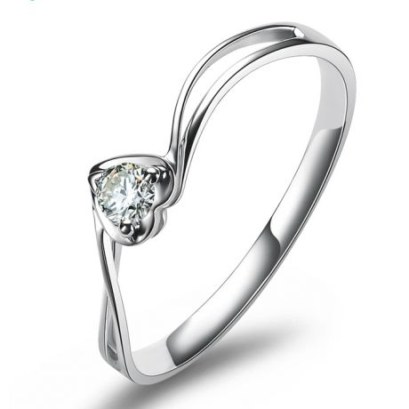 Anello di Fidanzamento Cuore Mio - Oro Bianco & Diamante Solitario | Gemperles