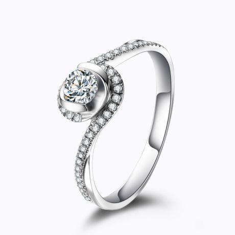 Anello Solitario Composto Ti Appartengo - Oro Bianco & Diamanti | Gemperles