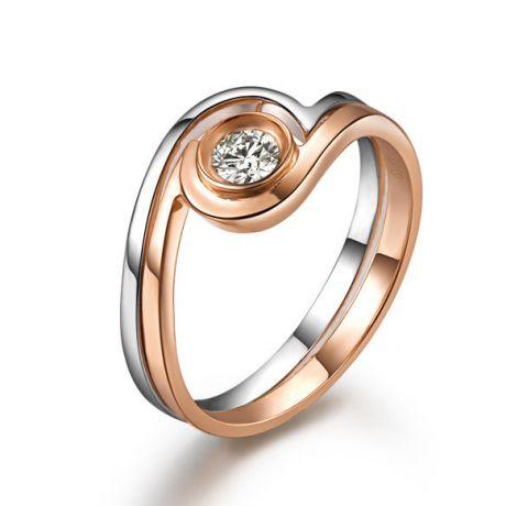 Solitaire diamant contemporain - 2 anneaux or rose et blanc | Gemperles