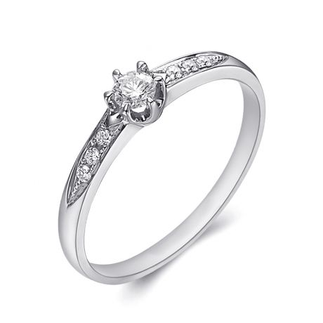 Alliance Solitaire Accompagné Diamants. Or Blanc | Gemperles