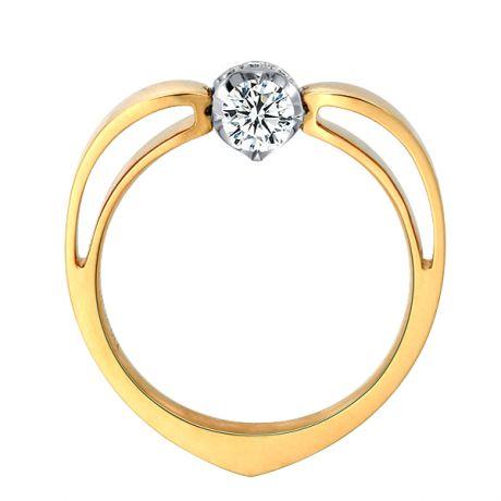 Solitaire Anneau Bombé - Or Blanc & Jaune - Couronne Diamants | Gemperles