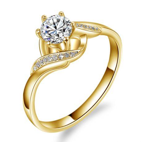 Anello Solitario di Fidanzamento Laccio - Oro Giallo & Diamanti | Gemperles