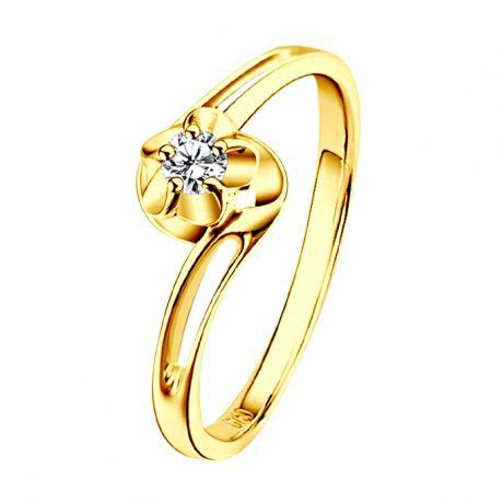 Solitaire bague fleur d'amour diamantée - En or jaune - Paul Verlaine