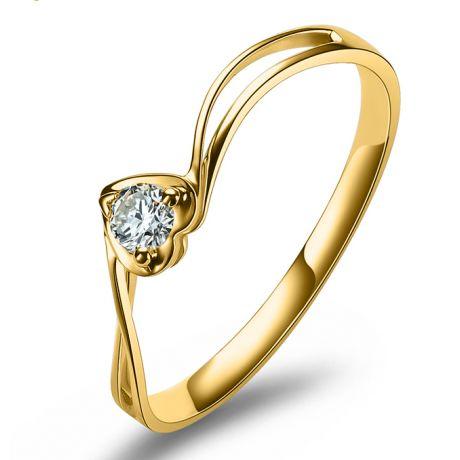 Anello di Fidanzamento Cuore Mio - Oro Giallo & Diamante Solitario | Gemperles