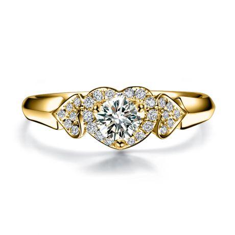 Anello di Fidanzamento Cuori Splendidi - 3 Cuori in Diamanti & Oro Giallo | Gemperles