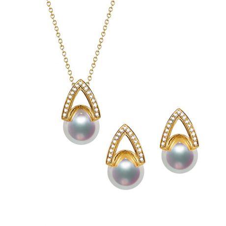Pendentif et Boucles Masako du Japon. Perles Akoya, Or jaune, diamants.
