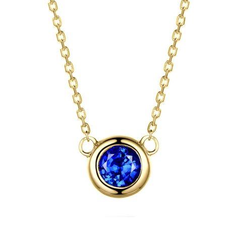 Collier pendentif solitaire saphir Or jaune. Soli blue