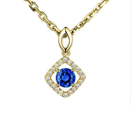 Pendentif losange Or jaune, saphir et diamants