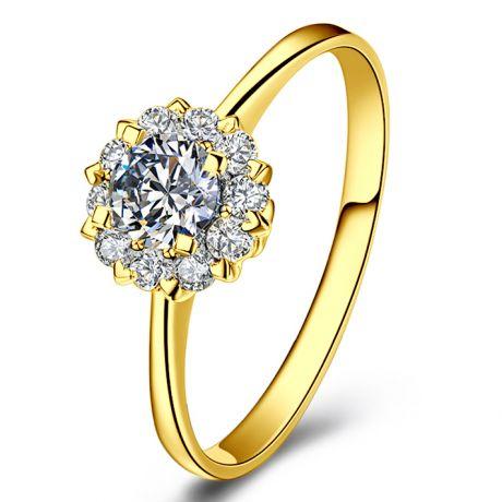 Bague or jaune solitaire - Coeur caillouté - Diamants pavés | Coeur Caillouté