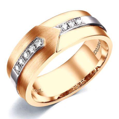 Bague Homme moderne. Or rose et blanc 18cts, 8 Diamants VS / G | Camillo