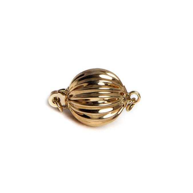Chiusura Boccino. Palla striata 10mm - Oro giallo 14kt
