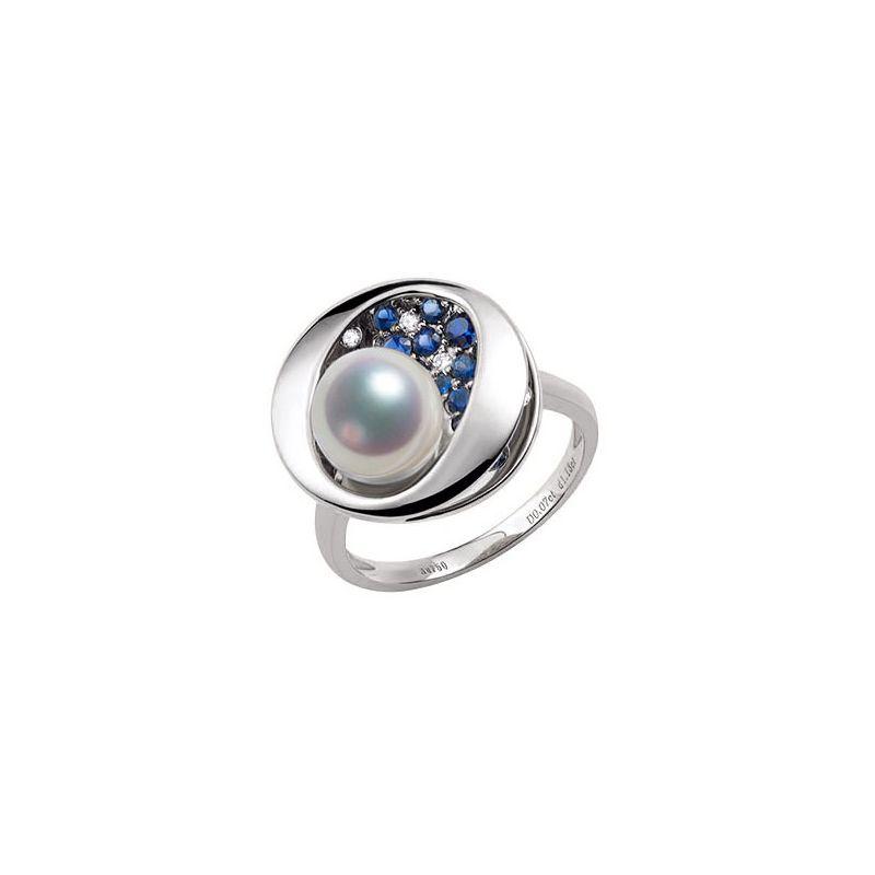 Bague Seiza Constellation I Perle Akoya, saphir, diamant I Or blanc