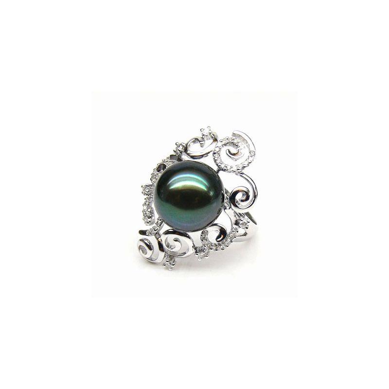 Anello curve oro bianco - Perla di Tahiti nera, verde - 11/12mm