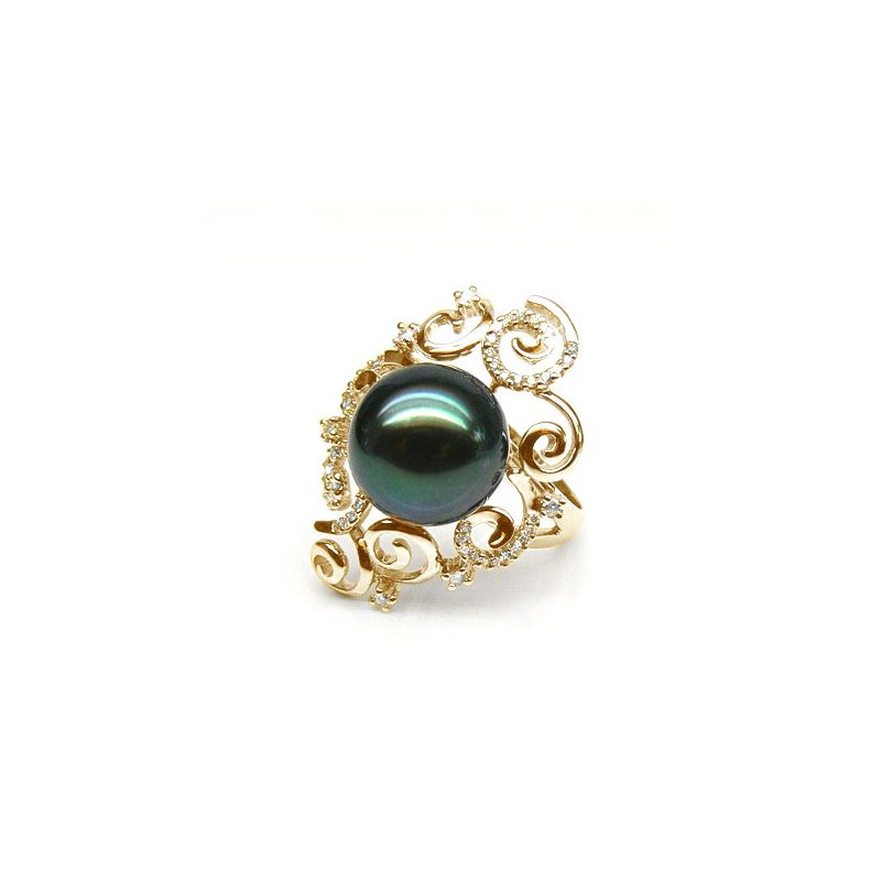 Bague Mindanao - Perle de Tahiti - Or jaune, diamants sertis griffes