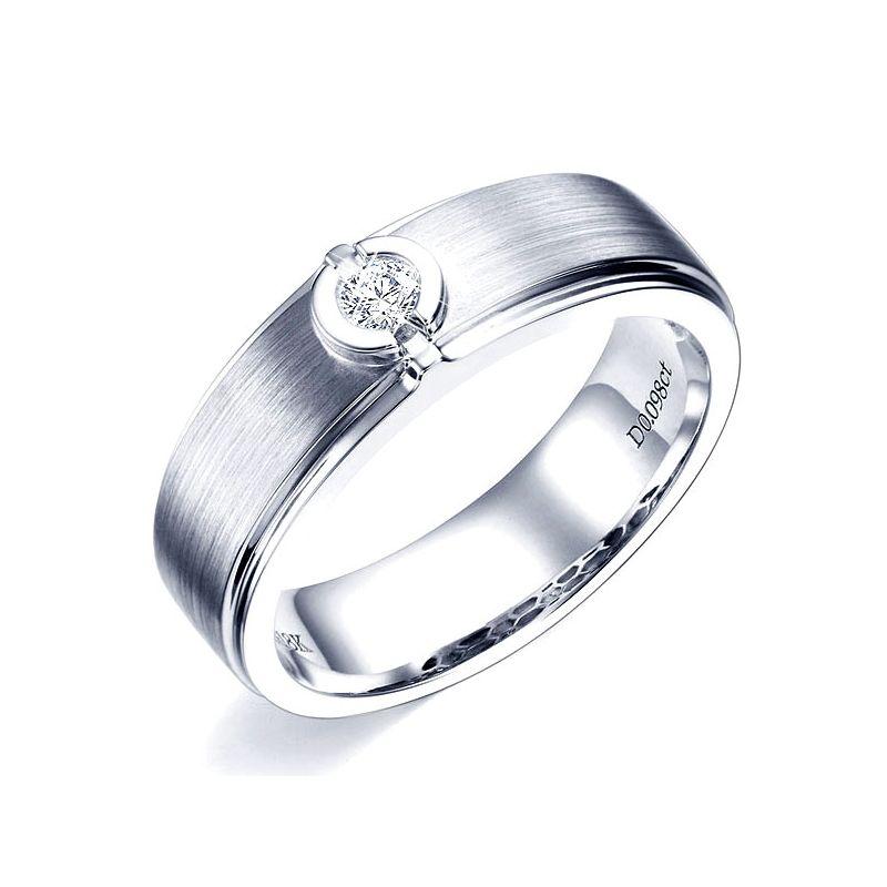 Bague Homme or blanc. Diamant solitaire. Or 750/1000 brossé et poli   Lorenzo