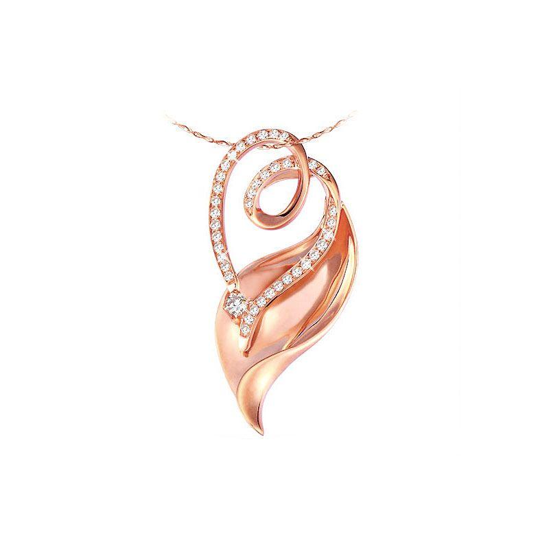 Pendentif feuille or rose - Accents romantiques et diamants 0.28ct