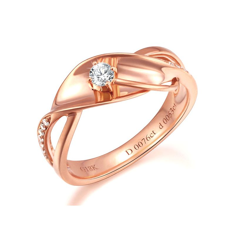 Bague fiançaille en or rose 750/1000 - Diamants 0.15ct