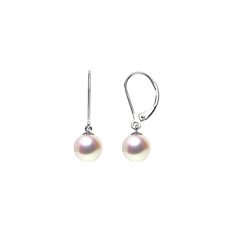 Dormeuses or blanc - Boucle oreille perle blanche de culture - AAA