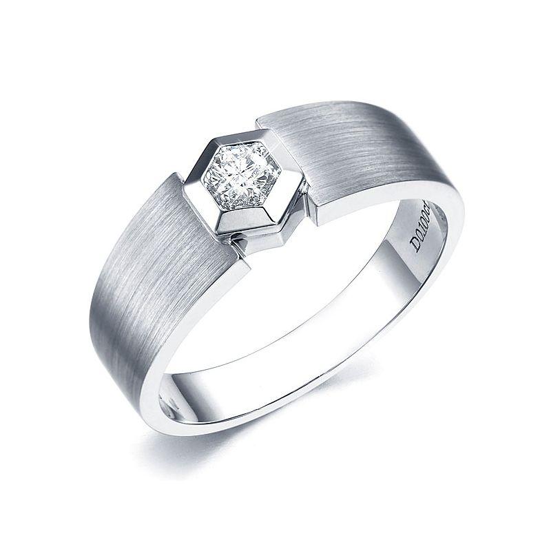 Bague pour homme or blanc - Diamant serti grain encadrement hexagonal