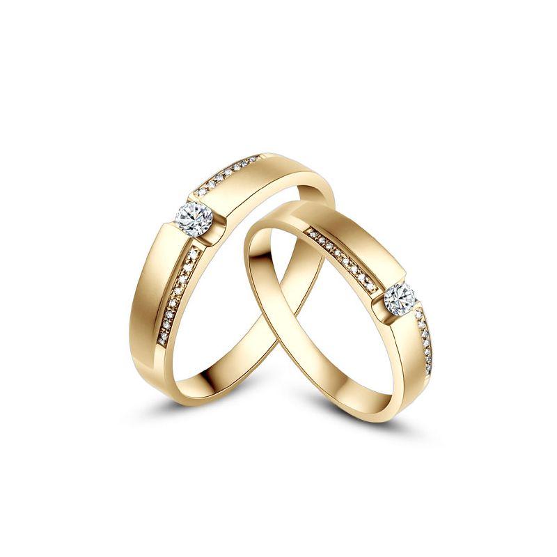 Alliances solitaires or jaune 750/1000 - Bagues Duo diamants