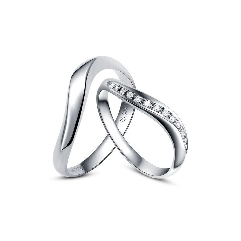 Alliances ondulées or blanc - Alliances Duo avec diamants