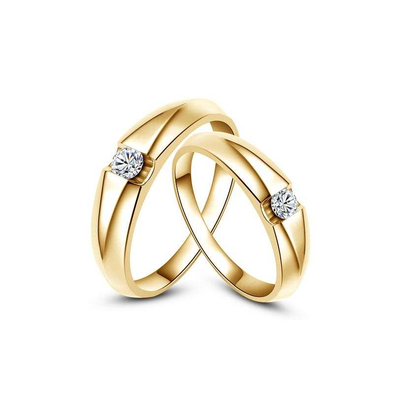 Alliances solitaires or jaune - Bagues alliances diamants - Couple
