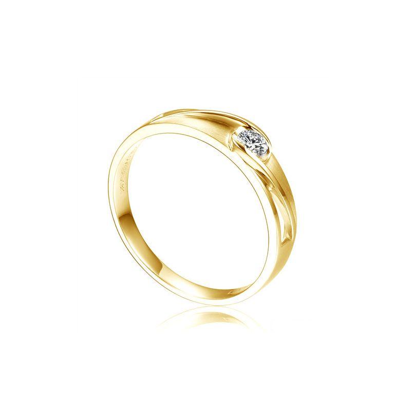 Alliance solitaire ajouré - Alliance Homme diamant or jaune