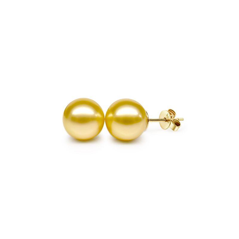 Orecchini perle d'Australia dorate. Farfallina oro giallo - 10/11mm