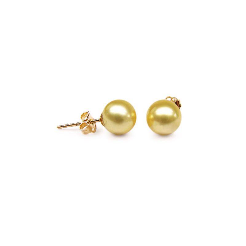 Orecchini perle d'Australia dorate. Farfallina oro giallo - 9/10mm