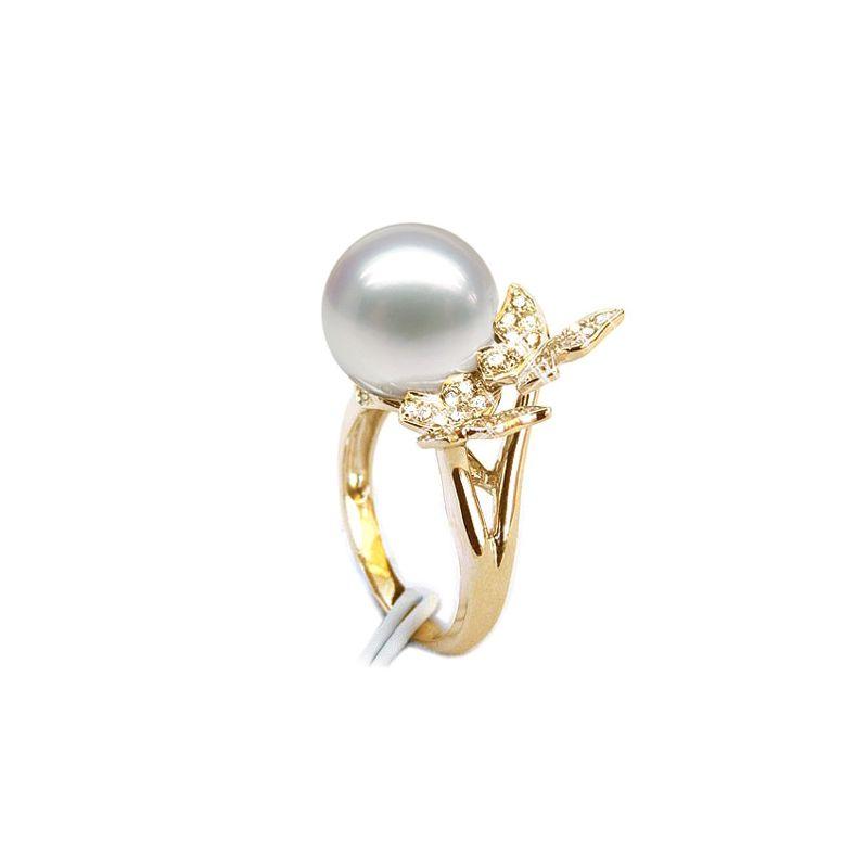 Bague papillons gracieux - Perle d'Australie - Or jaune, diamants