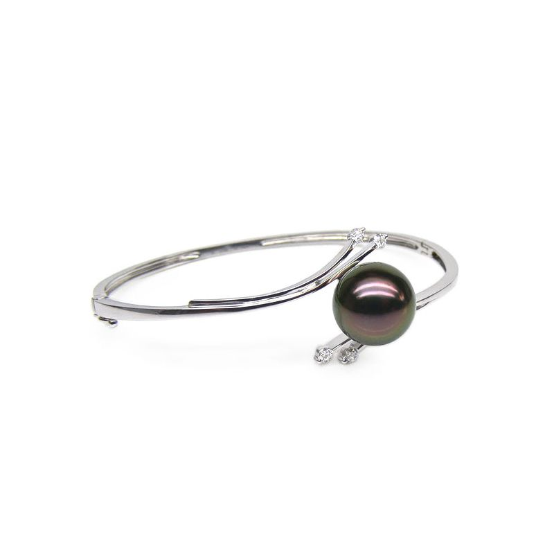 Bracelet jonc original - Perle de Tahiti noire - Or blanc, diamants