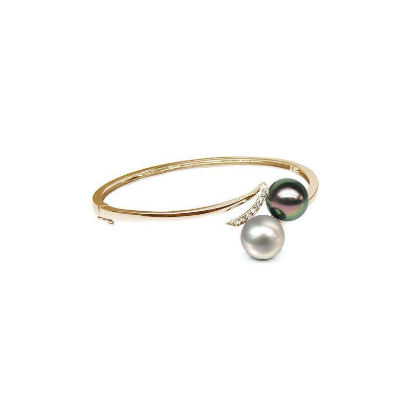Bracelet or jaune, diamants - Perles mers sud multicolores - You & Me