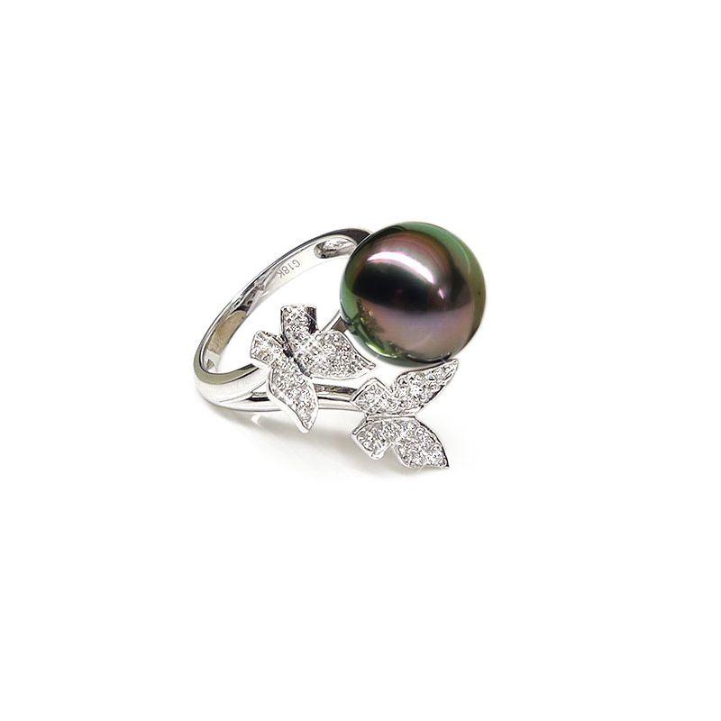 Anello farfalle oro bianco - Perla di Tahiti nera, pavone - 11.5/12mm