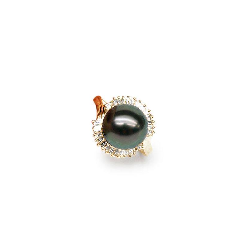 Anello oro giallo - Perla di Tahiti nera, blu, verde - 11/12mm