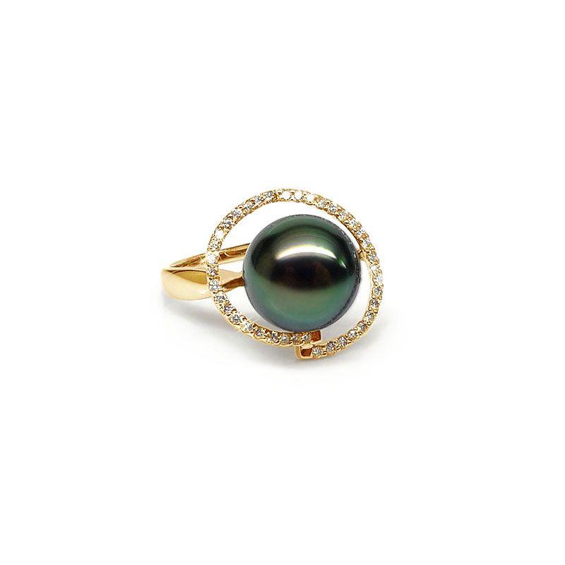 Bague diadème diamanté - Perle de Tahiti verte - Or jaune, diamants