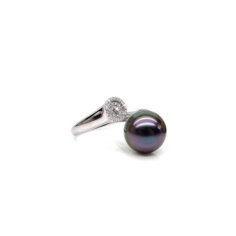 Bague perle de Tahiti verte aubergine - Or blanc, diamants micro-sertis