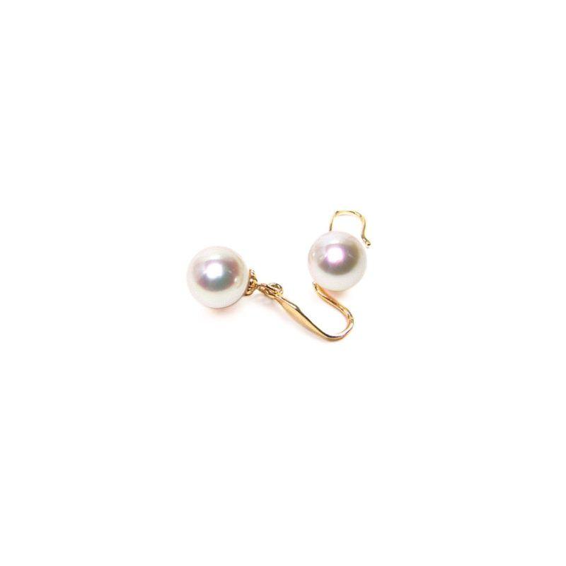 Boucles oreilles crochets or jaune - Perles eau douce blanches