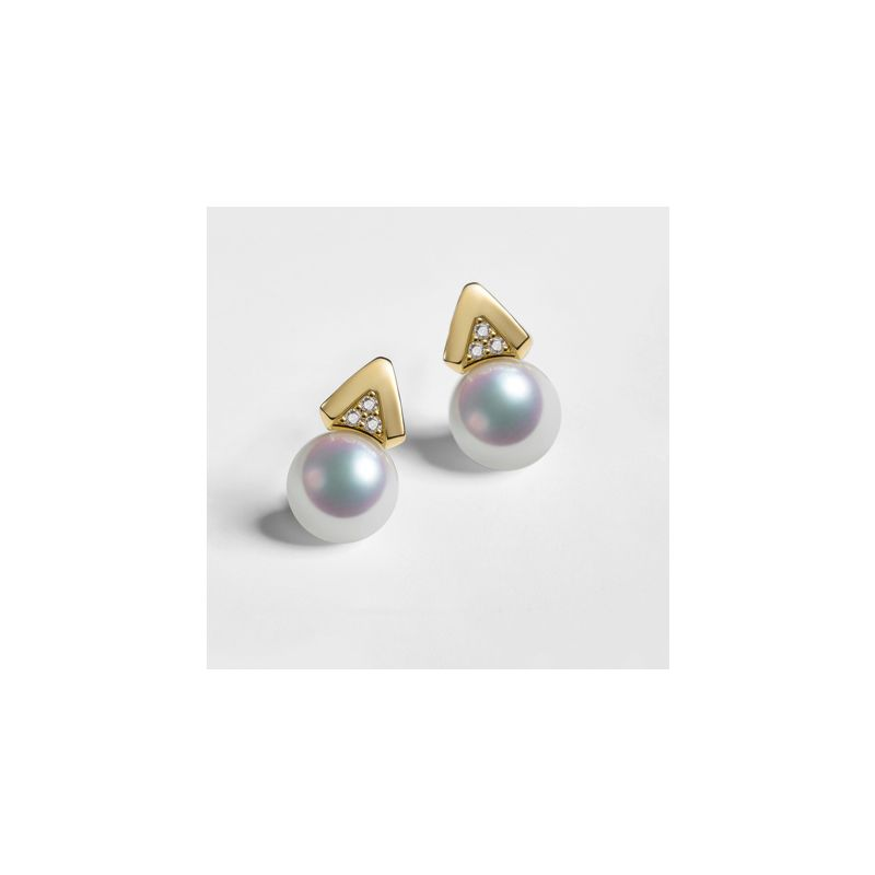 Boucles oreilles triangulaires. Perles Akoya Japon, Or jaune, Diamants