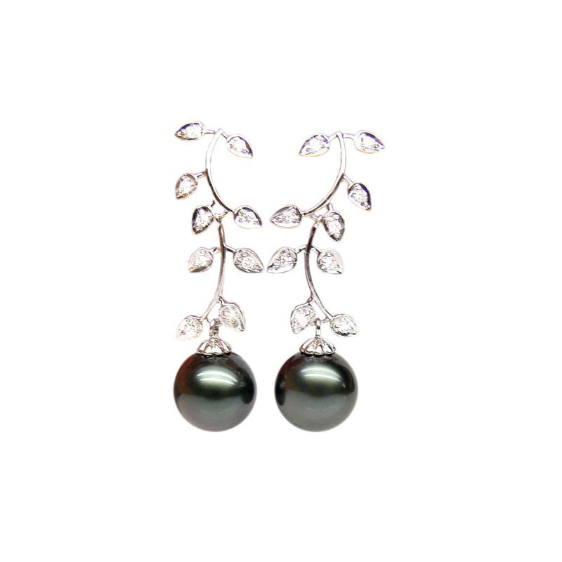 Boucles oreilles Nature - Perles de Tahiti noires - Or blanc, diamants
