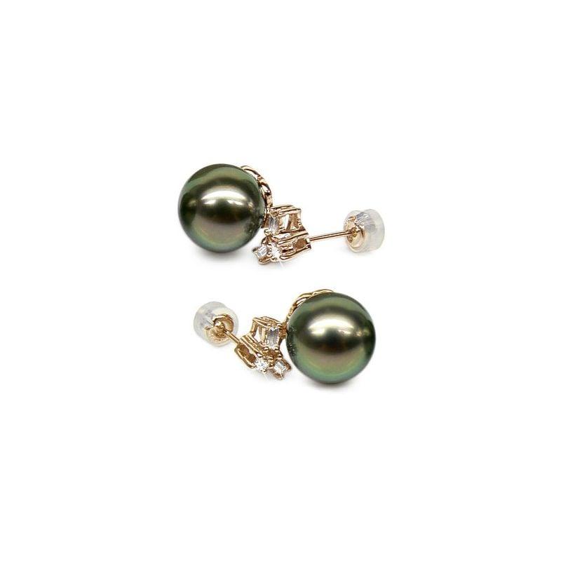 Boucles oreilles perles Tahiti - Or jaune - Diamants ronds, émeraudes