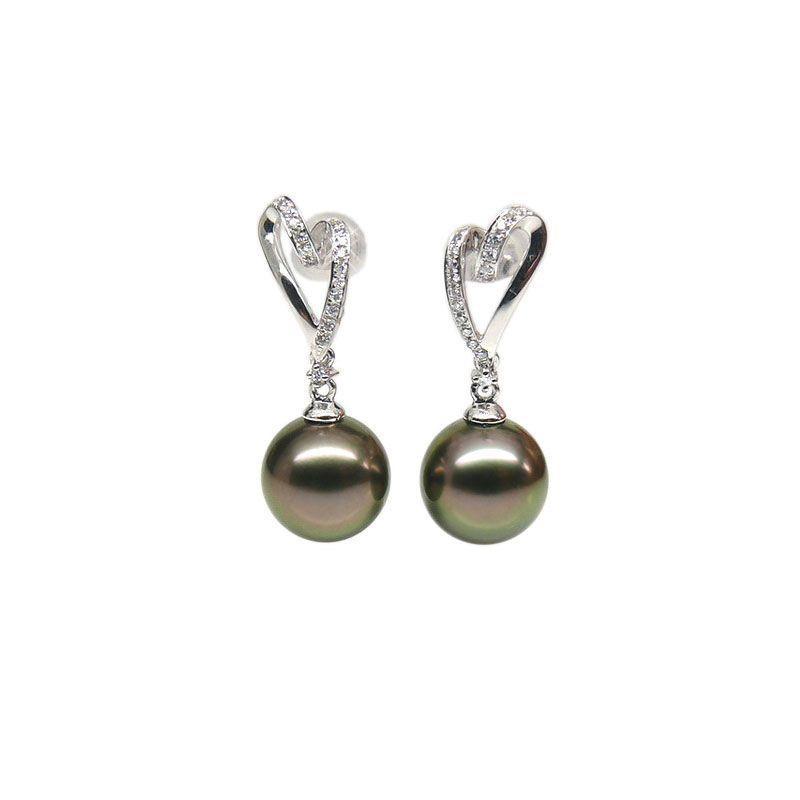 Boucles oreilles coeurs - Perles de Tahiti paons aubergines - Or blanc