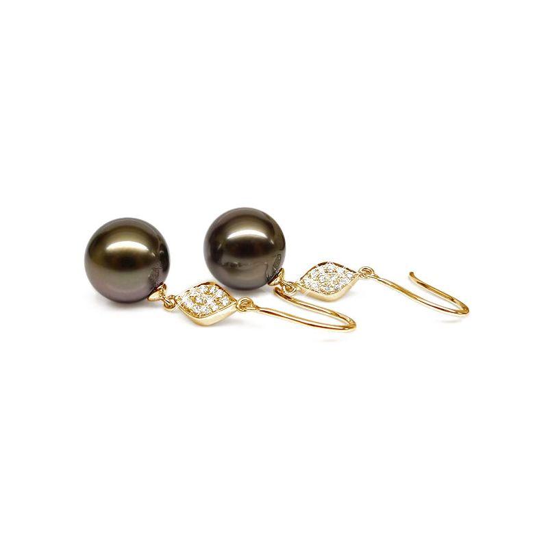 Boucles oreilles - Crochets perles de Tahiti -  Or jaune, diamants pavés
