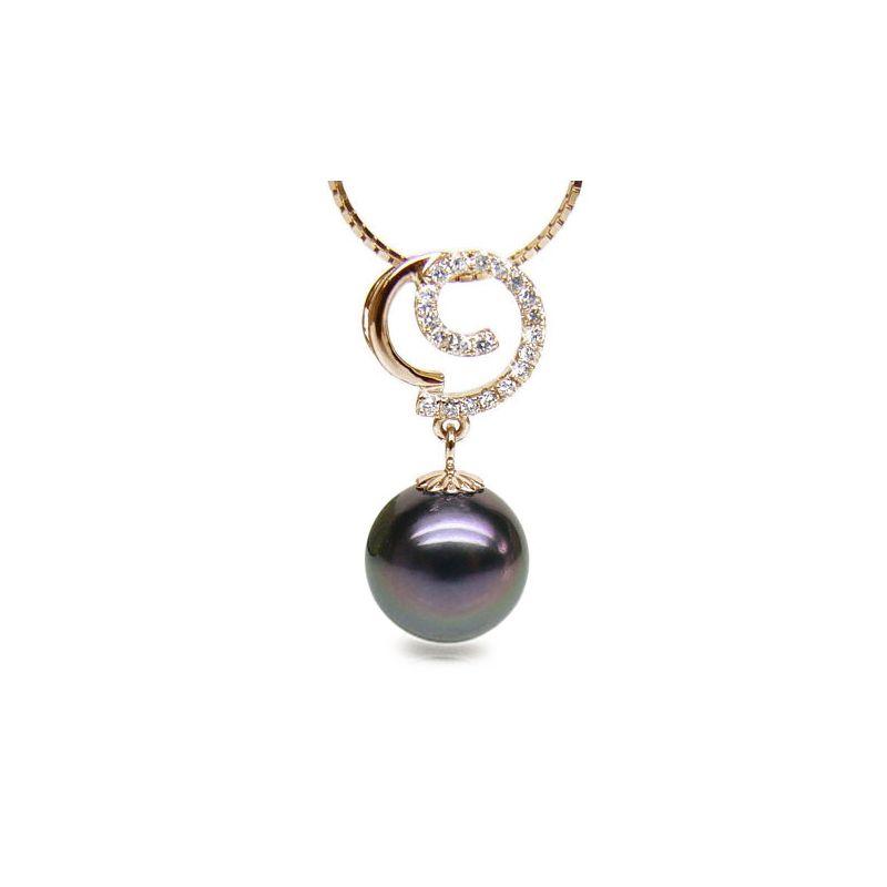 Pendentif joaillerie - Perle Tahiti paon aubergine - Or jaune, diamants
