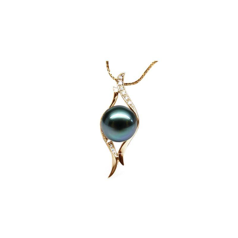 Pendentif barrettes incurvées or jaune - Perle de Tahiti, diamants